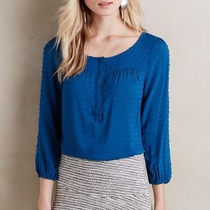 Anthropologie Maeve Scallop Edge Swiss Dot Top